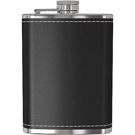 Frasco Uteruik para licor - Frasco de cadera de bolsillo de acero inoxidable a prueba de fugas de 9 oz Flagon con cubierta de cuero negro para ...