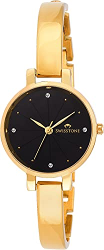 SWISSTONE Analogue Women's Watch (Black Dial Gold Colored Strap)