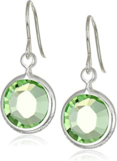 Alex and Ani Women's Swarovski Color Code Earrings August Peridot, Shiny Silver, One Size
