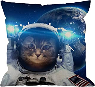 Cat Throw Pillow Cover Decorative by HGOD Designs Astronaut Cat Nebula Galaxy Outer Space Throw Pillow Cotton Linen Square Pillow Case for Men/Women/18x18 inch Blue Black and White