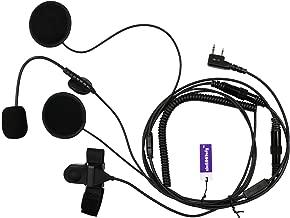 abcGoodefg Kenwood 2 Pin Moto Motorcycle Bike Earpiece Headset Mic Microphone for BaoFeng Kenwood WouXun PuXing Linton Two Way Radio Walkie Talkie TK3118 TK3130 TK3131 TK3160 TK3170 TK3173 etc