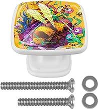 Deurknoppen 4 STKS Vierkante Glazen Deurknoppen Handvat Kast Pull Lade Keukenkast Lade knoppen met Schroeven Kleurrijke Be...