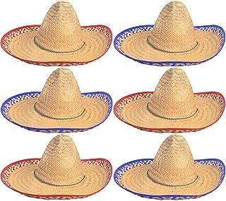 4E's Novelty Sombrero Hats Bulk 6 Pack Fits Most Men and Women Cinco de Mayo Fiesta Theme Party Costume