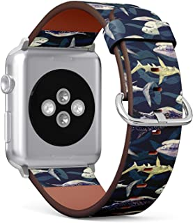 Compatible with Apple Watch 42mm & 44mm Leather Watch Wrist Band Strap Bracelet with Stainless Steel Clasp and Adapters (Sharks Variety Blue Tiger Whale)