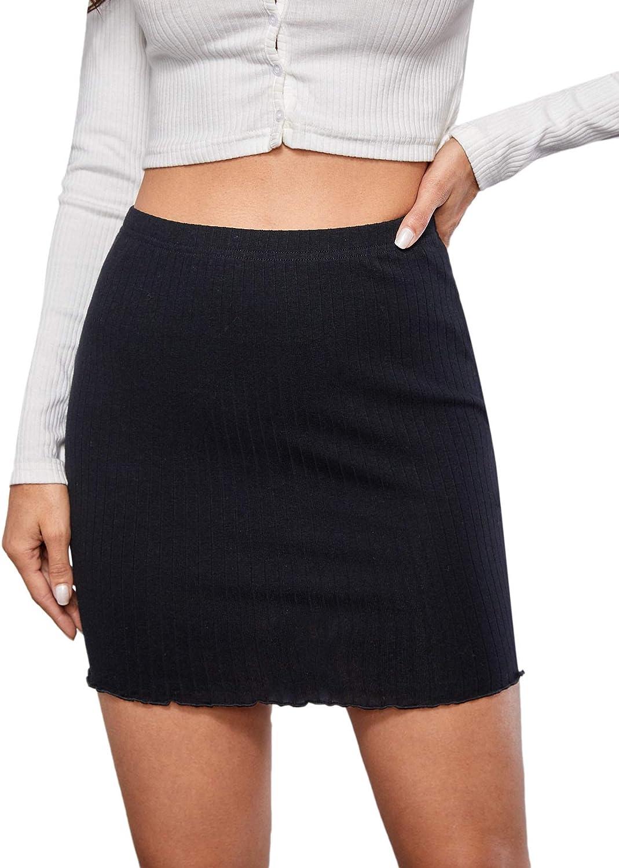 SOLY HUX Women's Snakeskin Print High Waist Split Hem Mini Bodycon Skirt