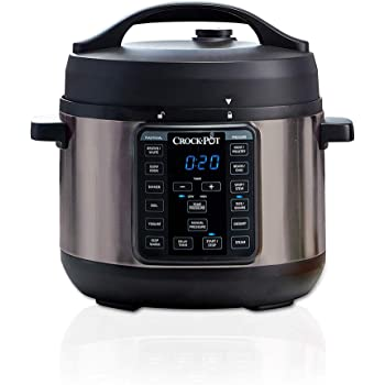 Crock-Pot 4-Quart Multi-Use MINI Express Crock Programmable Slow Cooker and Pressure Cooker with Manual Pressure, Boil & Simmer, Black Stainless