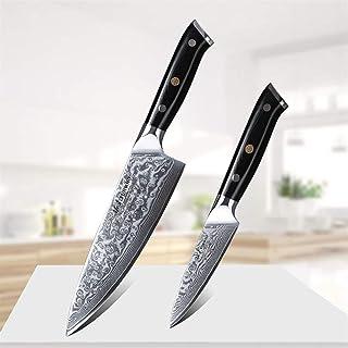 2 PC Damas Couteau de cuisine en acier Damas Couteau de 8 pouces Couteau de Chef + 3,5 pouces Utilitaire Couteau en acier ...