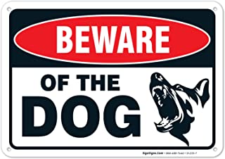 Beware of Dog Sign Made with 0.40 Aluminum. Dog Warning Sign is; 10 X 7 Inches, Weather & Rust Resistant, Fade Resistant, ...