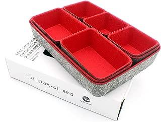 $49 » Welaxy Drawer Organizers Shallow Organiser Bins Draw dividers Felt Storage bin Office Organize Box, Pack 8 (red)