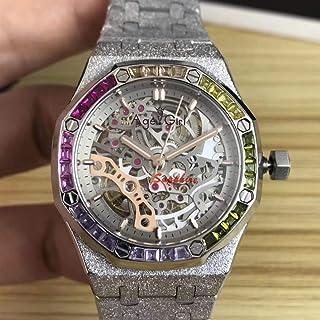 HNOLVH - Nuevas Mujeres Plata Oro Rosa Automático Zafiro Mecánico Acero Inoxidable Arco Iris Diamante Reloj Tourbillion