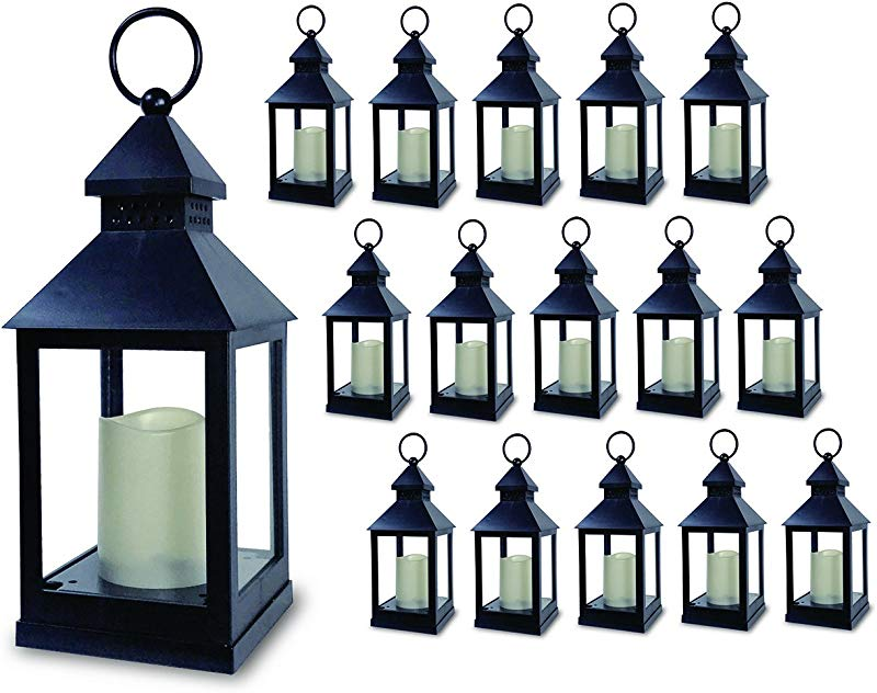 BANBERRY DESIGNS Decorative Lantern Set Of 16 5 Hour Timer 9 3 8 H Black Lanterns With Flameless Candles Included Indoor Outdoor Lantern Set
