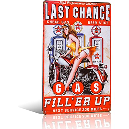 Last Chance Gas Station Beer /& Ice Tin Metal Sign Vintage Wall Décor Garage Bar