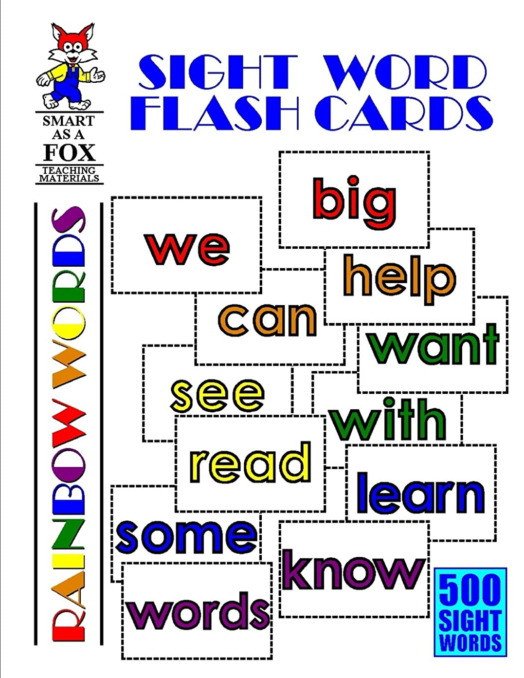 結果公平な潜むSight Word Flash Cards: 500 Rainbow Words