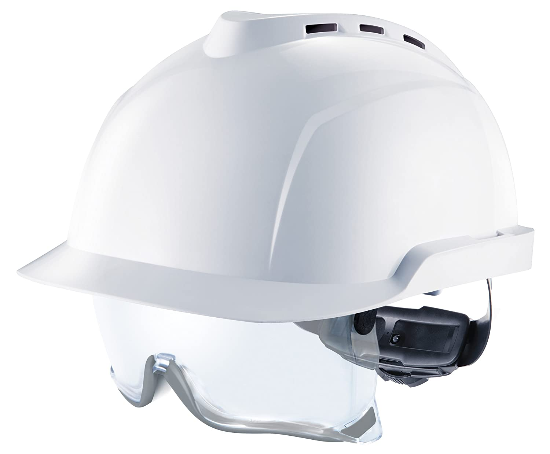 MSA V-Gard 930   Casco de Seguridad Industrial   DIN EN 397   con Ventilación y con Suspensión de Rueda de Cremallera Fas-Trac   Incluyendo Gafas   Color: Blanco