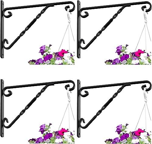 """Amagabeli 4 Pack Hanging Plants Bracket 12"""" Outdoor Hanger Planter Hooks Flower Baskets Pot Bird Feeder Wind Chimes L..."""
