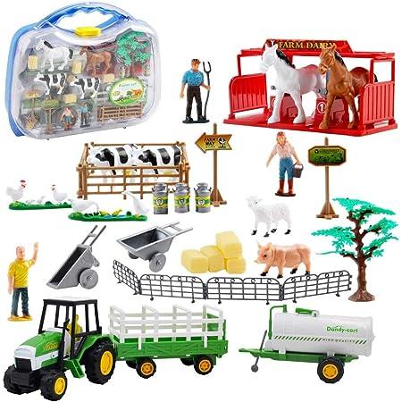deAO Set de Jeu de la Ferme avec 31 Accessoires Dont Un Tracteur, Un Semi-remorque et Un variété de Figurines d'Animaux et de fermiers.