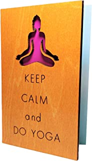 Handmade Real Wood Keep Calm and Do Yoga FunnyInspirationalMotivationalGreeting Card Best Happy Birthday Merry Christmas Holiday Greetings Wooden Gift for Sister FriendAunt Student TeenCoworker