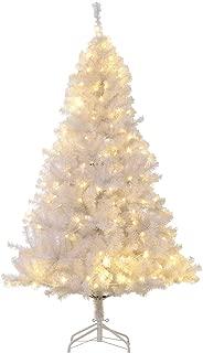 HOMCOM 6' PVC Pre Lit Artificial Christmas Tree with Metal Stand, 250 Warm White LED, 1000 Tips, White