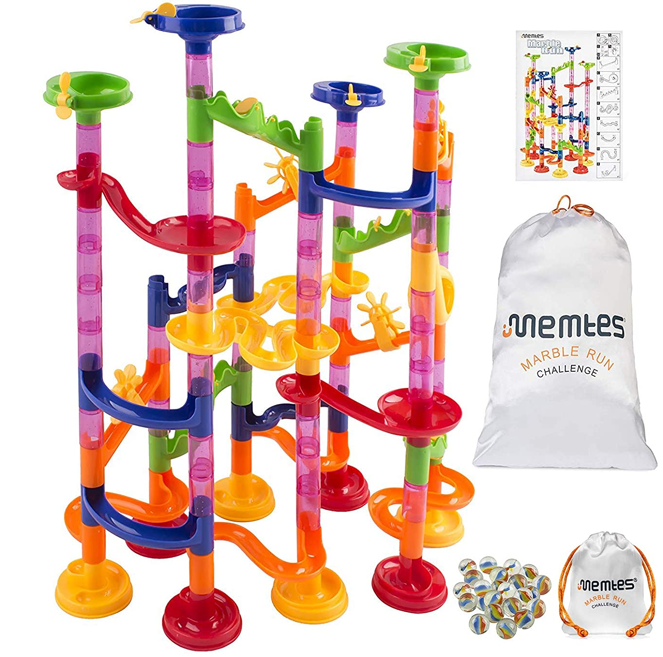Memtes Marble Run Toy Race Coaster 105 Piece Set, Educational Construction Maze Building Blocks Learning Toy, with Silk Bag