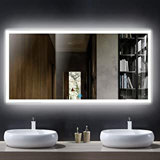55 x 28 in Horizontal LED Bathroom Silvered Mirror with Touch Button (N031-D)