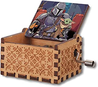 VINMEN Mandalorian Wooden Music Box Hand Crank Carved Musical Box Gifts for Birthday Hand-Operated Toys for Kids Boys Girls