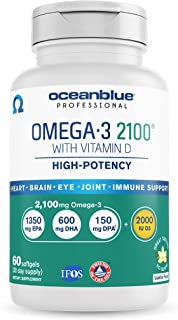 Oceanblue Omega-3 2100 with Vitamin D3 – 60 ct – Triple Strength Burpless Fish Oil with High-Concentration EPA and DHA, an...