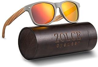 ZOLCE Zebra Wood Sunglasses for Men and Women,Wooden Bamboo Frame Package,Classic Vintage 100% UV Polarized Sun Glasses