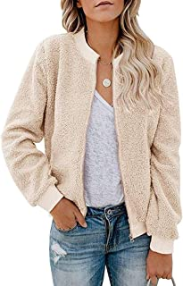 MIROL Women's Sherpa Fleece Jacket Faux Fuzzy Long Sleeve Casual Zip Up Bomber Coat with Pockets