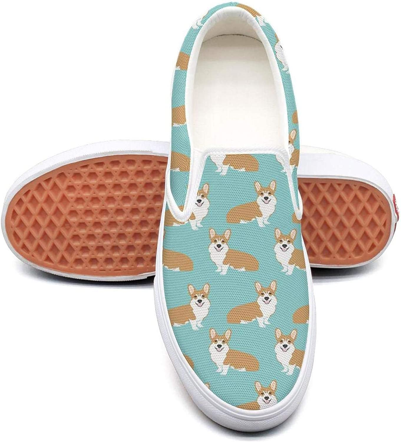 Corgi Welsh Corgi Gifts Womens Flat Slip on Low Top Canvas Boat shoes