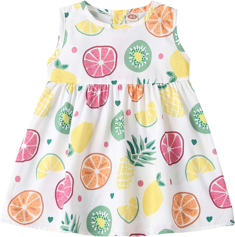 Toddler Infant Baby Girls Dress Sleeveless/Short Sleeve Sunflower Printed Dress Princess Dress
