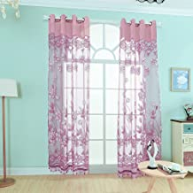 2Pcs 100 * 250cm Elegant Luxury High-end Floral Pattern Window Curtains with Beads Door Voile Curtain Window Drape Divider...