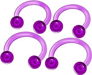 MATIGA 4Pcs Flexible Acrylic 16g 8mm 10mm Barbell Horseshoe Earring Piercing Jewelry Tragus Eyebrow Daith Rook 3mm Ball More Choices