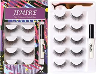 JIMIRE Natural False Eyelashes with Glue and Tweezers Round Strip False Lashes Kit 5 Pairs
