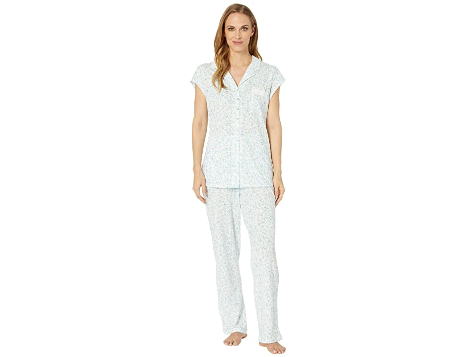 Eileen West Cotton Modal Notch Collar Pajama Set (White Multi Floral Scroll) Women
