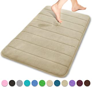 Yimobra Memory Foam Bath Mat Large Size 31.5 by 19.8 Inches, Soft and Comfortable, Maximum Absorbent, Non-Slip, Thick, Machine Wash, Easier to Dry for Bathroom Floor Rug, Camel