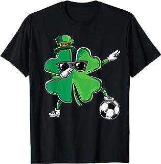 Funny Dabbing Shamrock Dab Soccer St Paddys Day Boys Gift T-Shirt