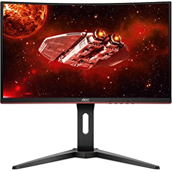 "AOC CQ27G1 27"" Curved Frameless Gaming Monitor QHD/2K, 1ms, 144Hz, FreeSync, DisplayPort/HDMI/VGA, Height adjustable, 3-Year Zero-Bright Dot, Black/Red"