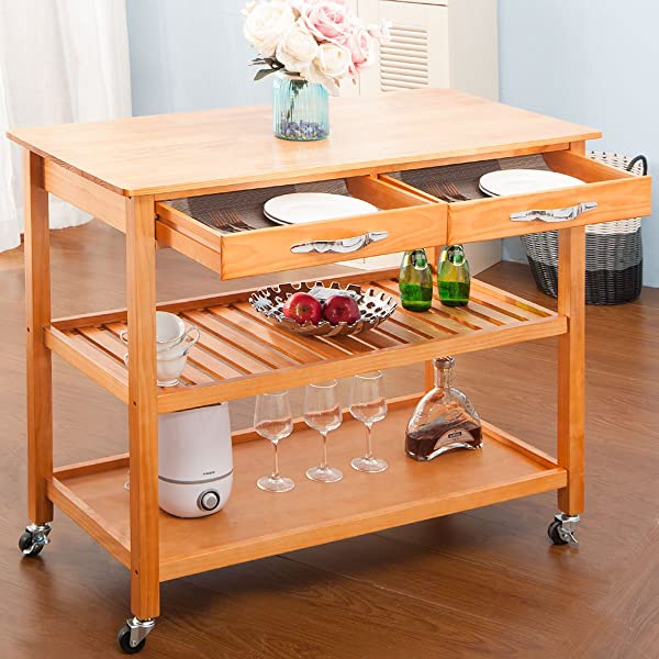 Harper Bright Designs Kitchen Island Cart With Wheels Drawers Shelves Storage Shelf Walnut