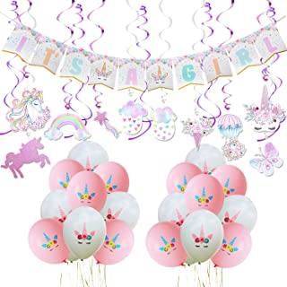 WERNNSAI Unicorn Baby Shower Decorations - Magical Unicorn Party Supplies Kit for Baby Girl Including IT'S A Girl BannerPink White Latex Balloons Ribbons Hanging Swirl Decorations 53 PCS