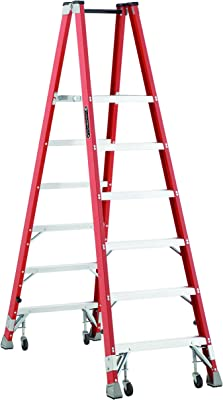 Louisville Ladder FMP1506-4C Fiberglass Platform Ladder with Caster and 350 lb Load Capacity, 6'