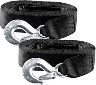 BANG4BUCK 2 Packs 2 Inch X 20 Feet Winch Straps Cable Tow Strap Lines with Durable Hooks for ATV Jet Ski Trailer Boat Cars - Breaking Strength 10000 lbs