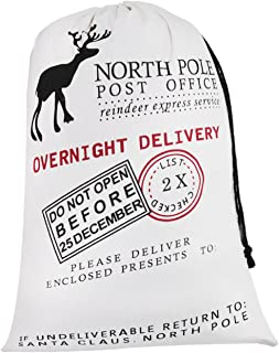 Personalized Santa Sack ,HBlife Christmas Gift Bag Santa Bag Cotton with Drawstring Size 19.7