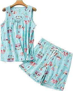 Women's Cute Sleeveless Print Tee and Shorts Sleepwear Tank Top Print Pajama Set Lounge Sleepwear Sleepshirt