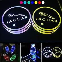 ICESAR 2 Piezas 68 mm Intercambiable 7 Colores LED Soporte de Taza Posavasos Pad Posavasos con Cable USB, Impermeable Interior Ambiente lámpara decoración Luces para BMW Accesorio (Apto para Jaguar)