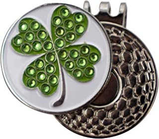 DA VINCI Magnetic Golf Hat Clip with 1 Inch Metal Golf Ball Marker (Bling Shamrock)