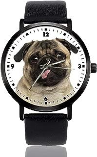 Childlike Pug Wrist Watch Mens Womens Unisex Casual Leather Band Quartz Analog Wrist Watch