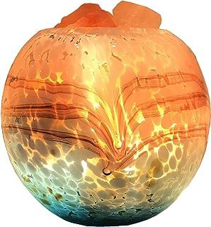 EIU Lámpara De Sal De Cristal del Himalaya Natural Puro, 16 Colores con Control Remoto Lámpara De Sal De Roca De Cristal USB Luz De Noche para Mesita De Noche(Color:Botón de Encendido)
