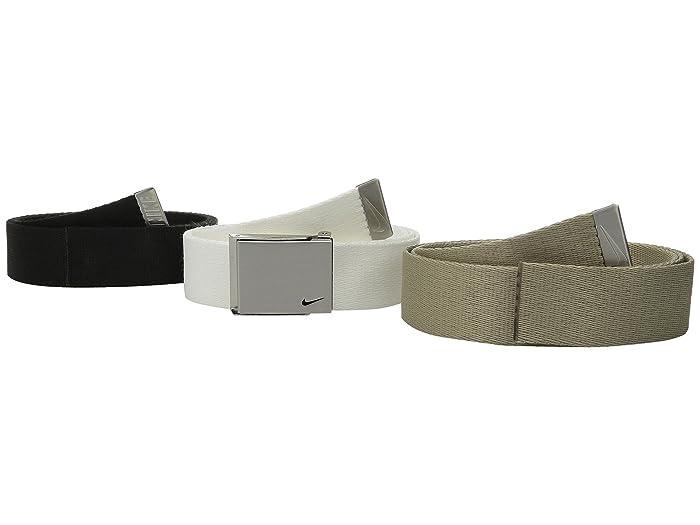 Nike  3 Web Pack (Black/White/Tan) Mens Belts