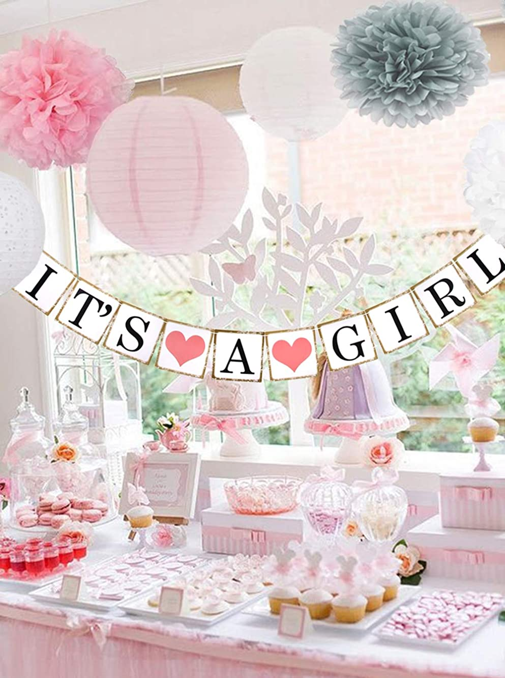 Beau & Miel Baby Shower Decorations for Girl, decoracion para Baby Shower ni?a, babyshower Package, Decoration Party kit with Banner Decor, Pink White Gray Packages Paper pom poms for Babies
