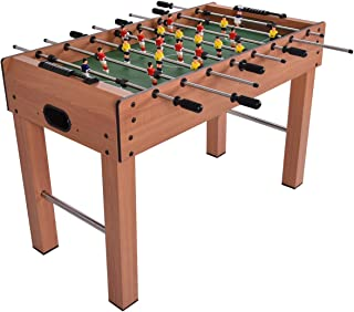 """GYMAX 48"""" Foosball Table, Wooden Competition Size Football Game Table with 2 Balls, Entertaining Game Table for Multi Players"""